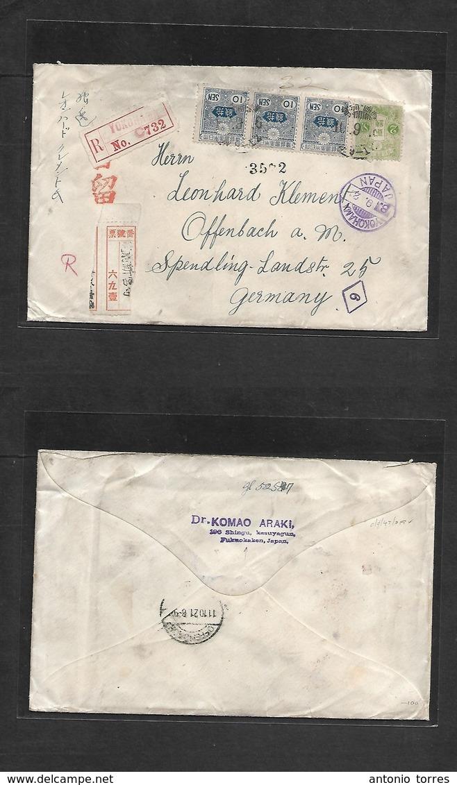 Japan. 1921 (8 Sept) Fukuokaken - Germany (11 Oct) Registered Multifkd Envelope Via Yokohama (x2) R-labels + Diff Cachet - Japon