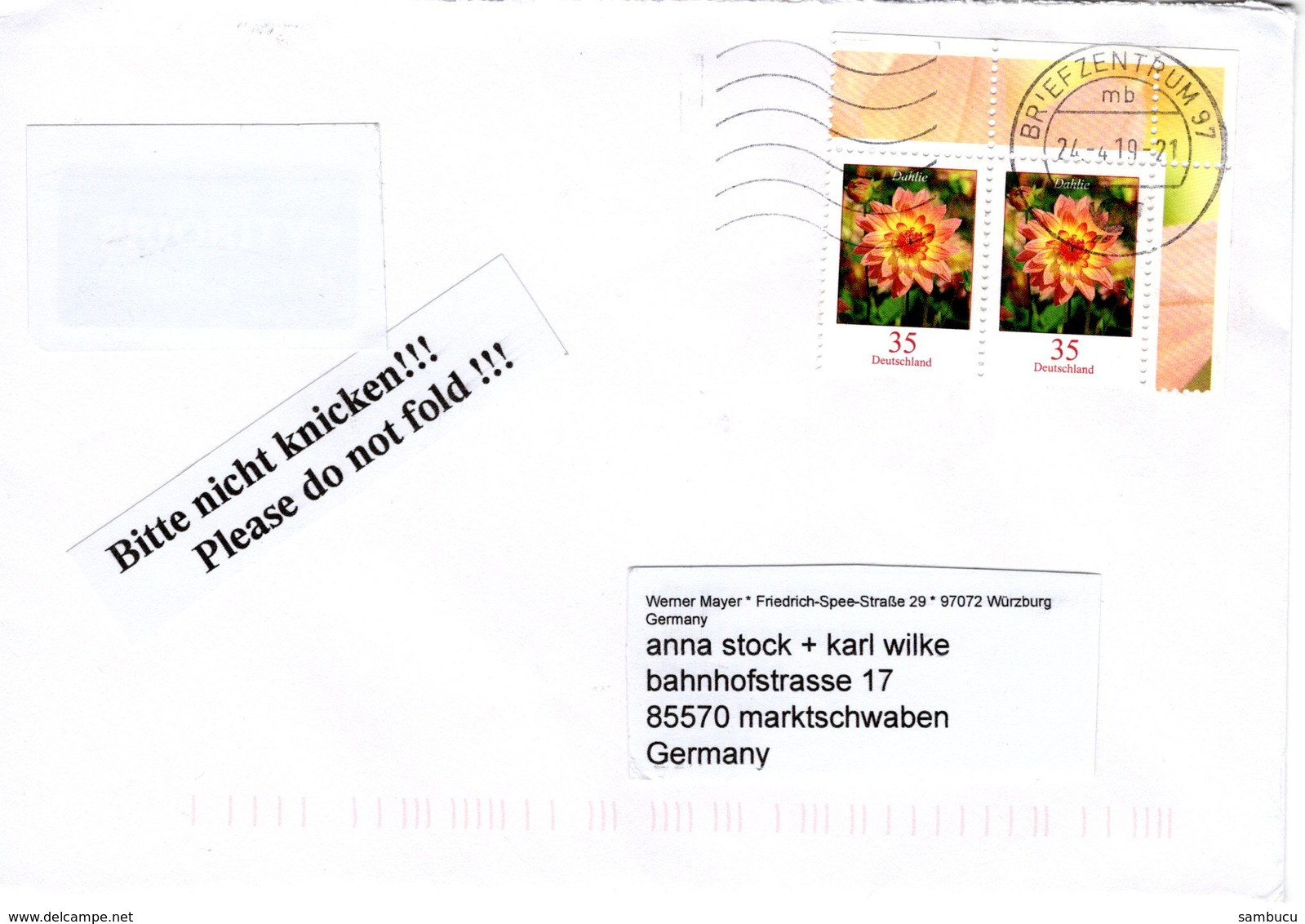 Brief Von Briefzentrum 97 Mit 70 Cent Dahlie Eckrandstück Blumen 2019 - BRD