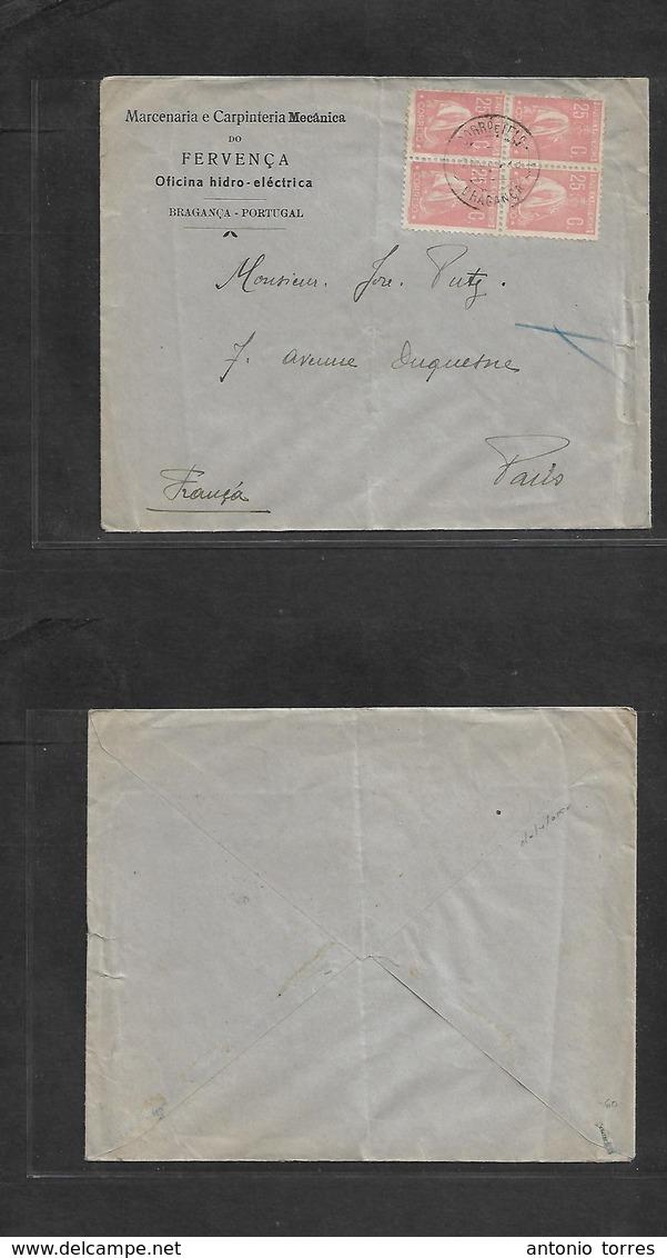 Portugal - Xx. 1923 (20 Oct) Braganza - France, Paris. Fkd Env Ceres 25c Rose Block Of Four, Cds. VF. - Portugal