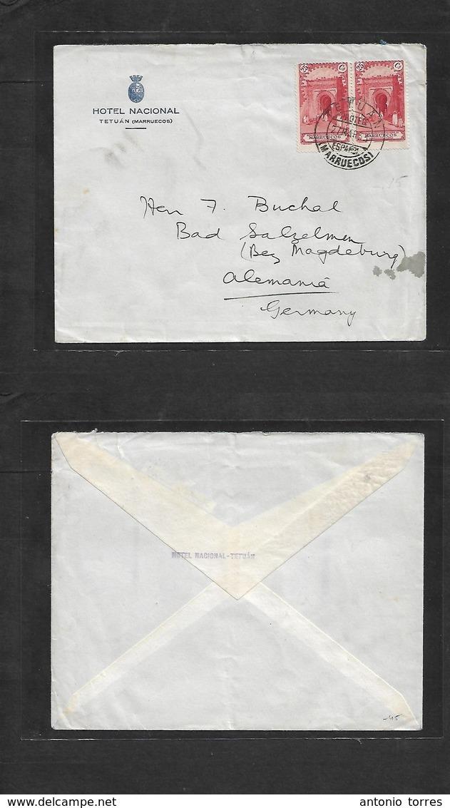 Marruecos. 1933 (27 Marzo) Tetuan - Alemania, Basel. Sazelmen, Magdeburg. Sobre Hotel Nacional Uso Correcto. - Morocco (1956-...)