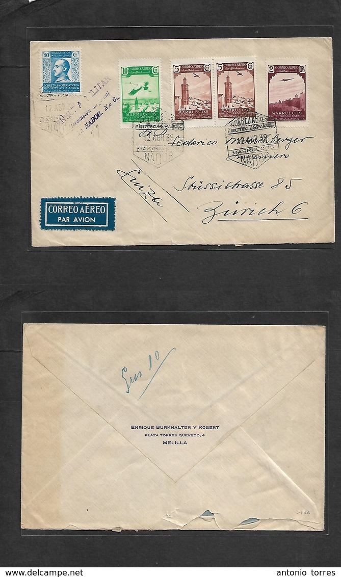 Marruecos. 1939 (12 Abril) Nador - Suiza, Zurich. Sobre Franqueo Multiple Con Beneficio Y La Para Censura De Nador. Prec - Maroc (1956-...)