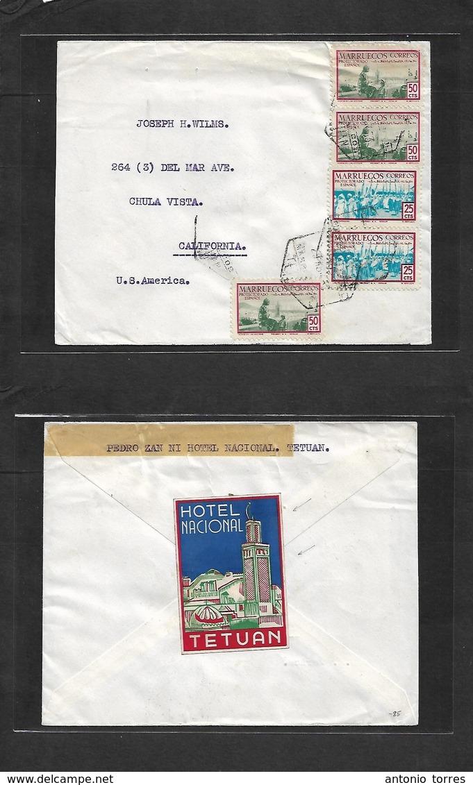 Marruecos. 1953 (29 April) Tetuan - USA, California, Chula Vista. Sobre Circulado Via Aerea Tarifa 2 Pesetas. - Morocco (1956-...)