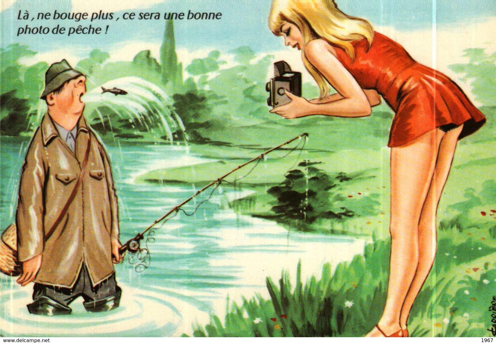 Carte Postale - Illustration Louis Carrière -  PÊCHE - Pin-up - Carrière, Louis