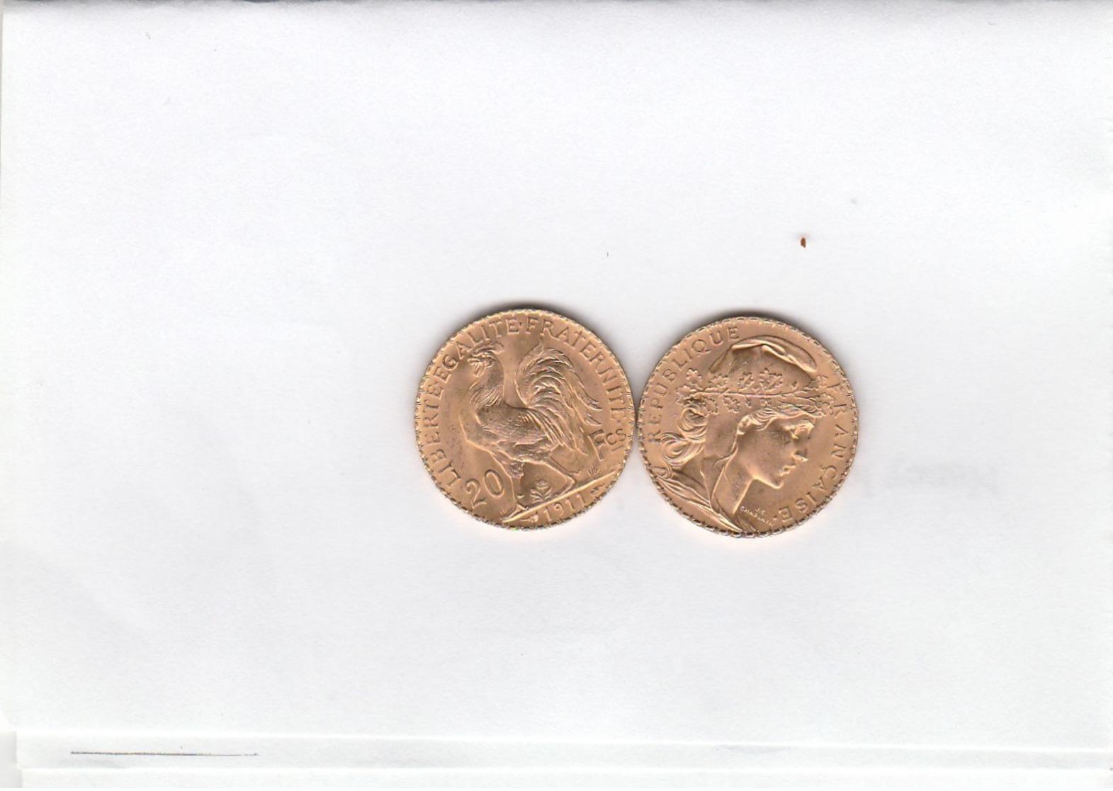 FRANCE 1911  20 FRANCS OR MARIANNE QUALITE SUP - L. 20 Francs