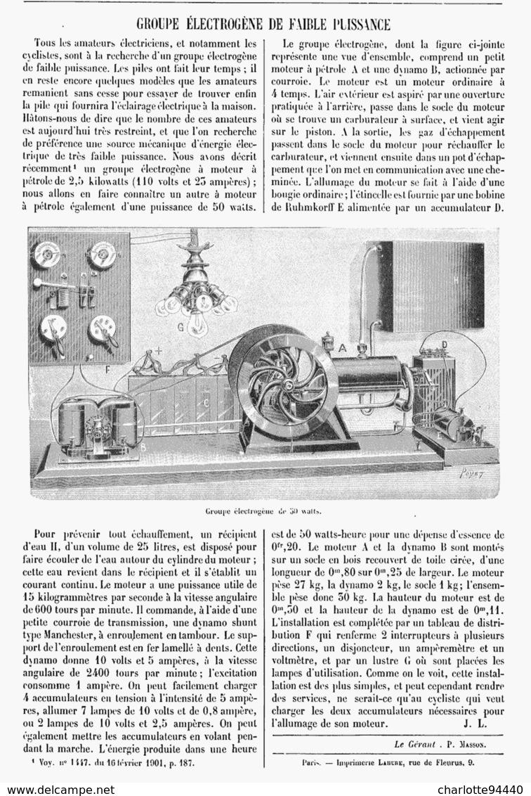 GROUPE ELECTROGENE De FAIBLE PUISSANCE  1901 - Technical