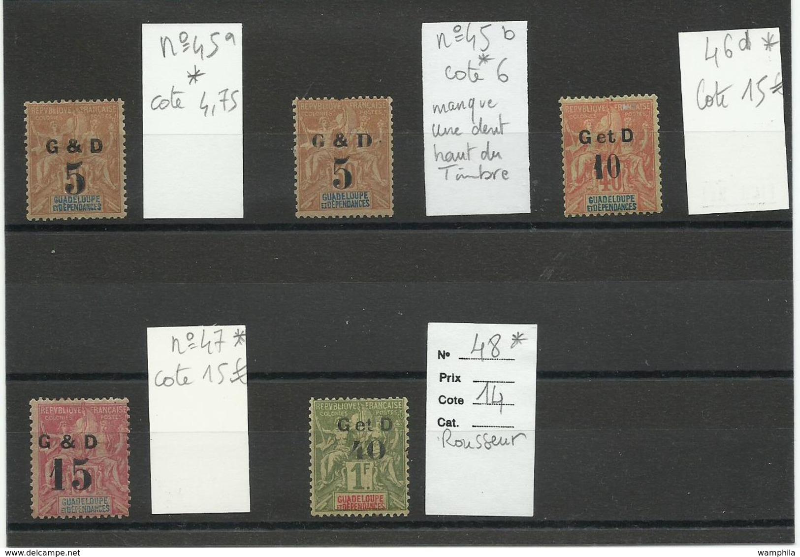 1903 Guadeloupe, Lot De Timbres Surchargés Neufs * - Guadeloupe (1884-1947)