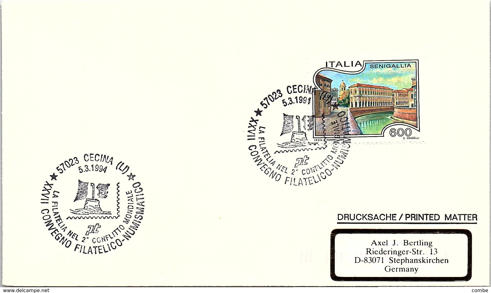 ITALIA.  LA FILATELIA NEL 2° CONFLITTO MONDIALE CECINA 1994 - WO2