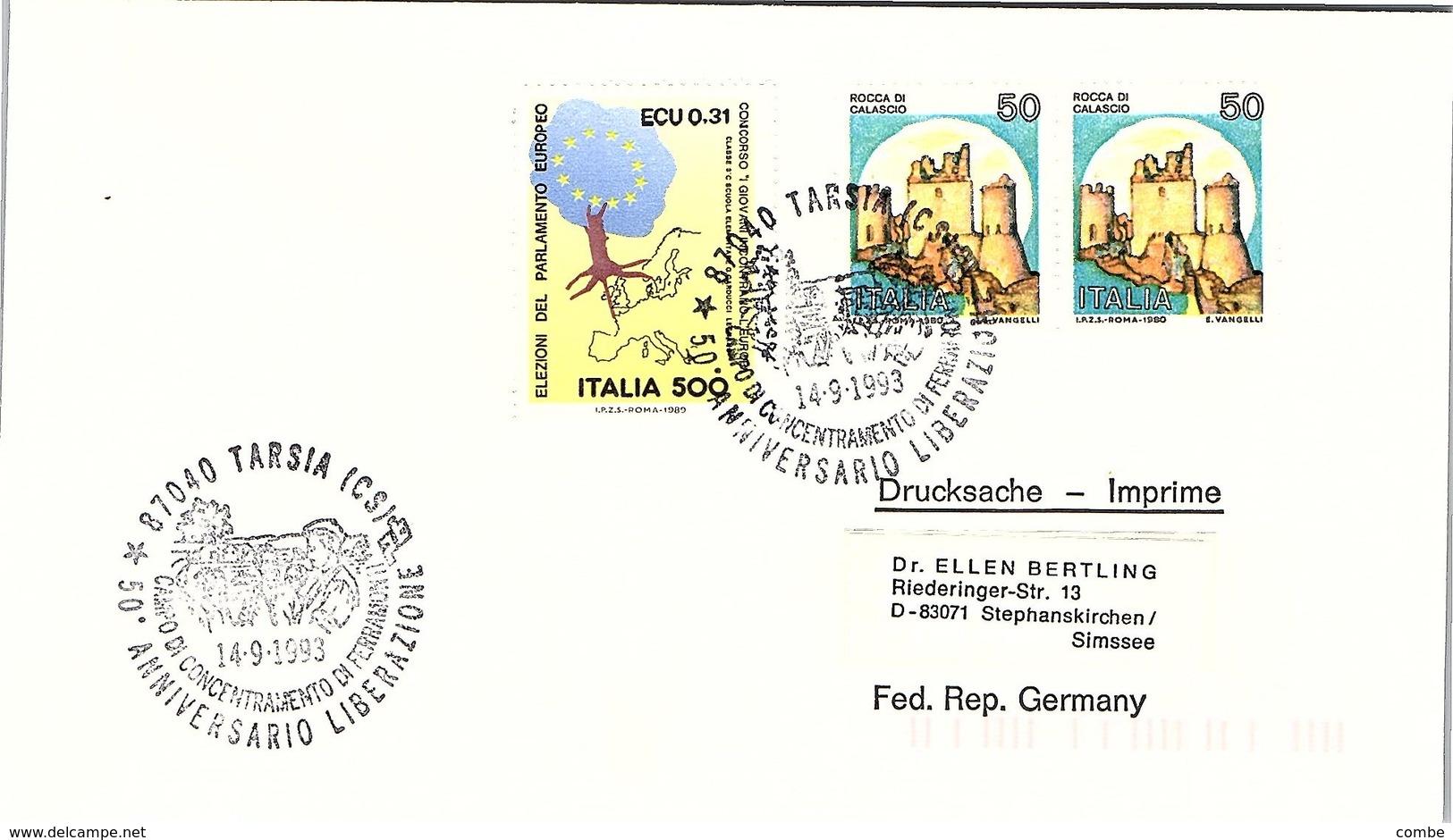 ITALIA.  50° ANNIVERSARIO LIBERAZIONE TARSIA 1993 - Seconda Guerra Mondiale