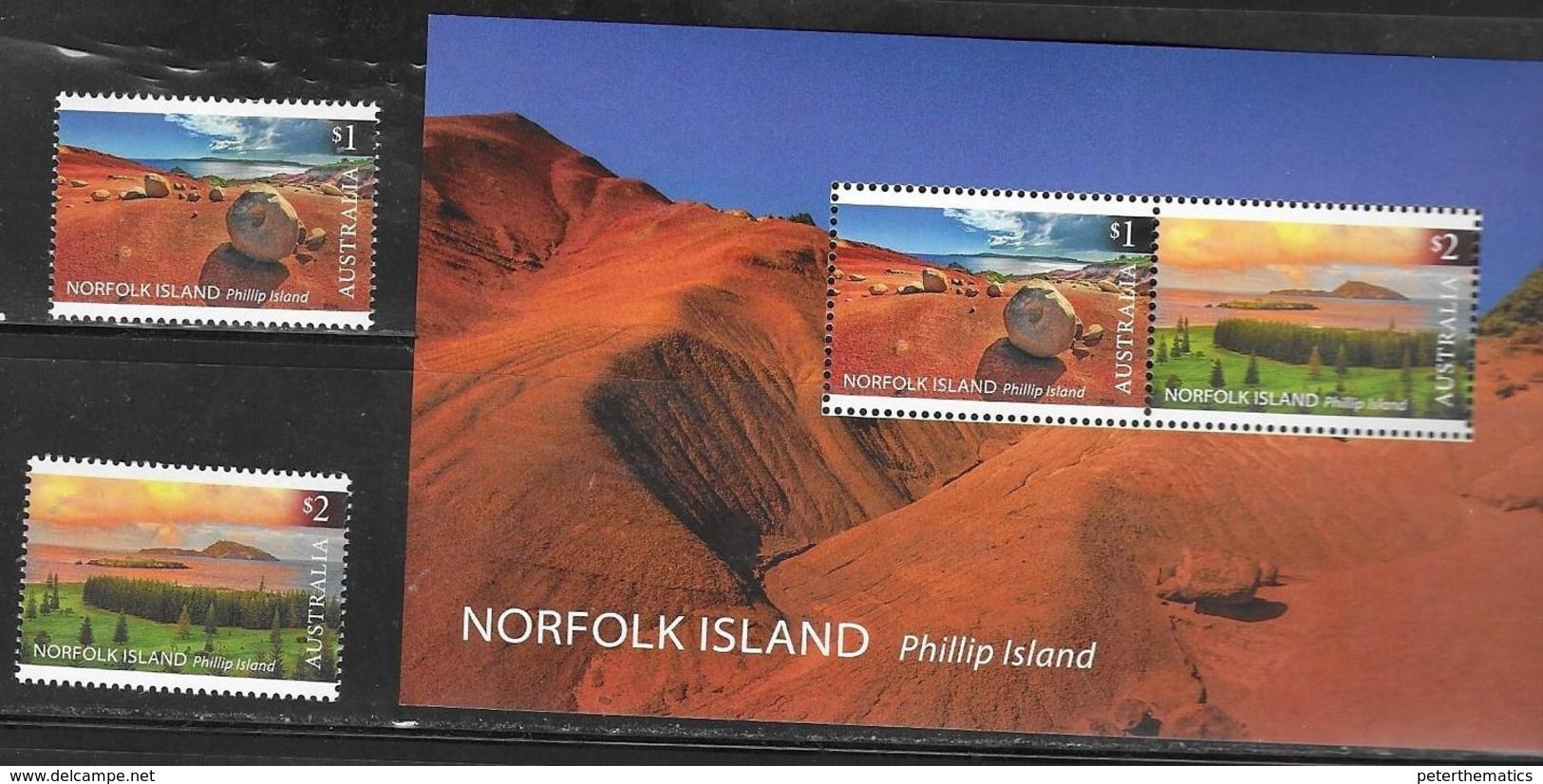 NORFOLK ISLAND, 2019, MNH, PHILLIP ISLAND, LANDSCAPES, 2v+S/SHEET - Islands