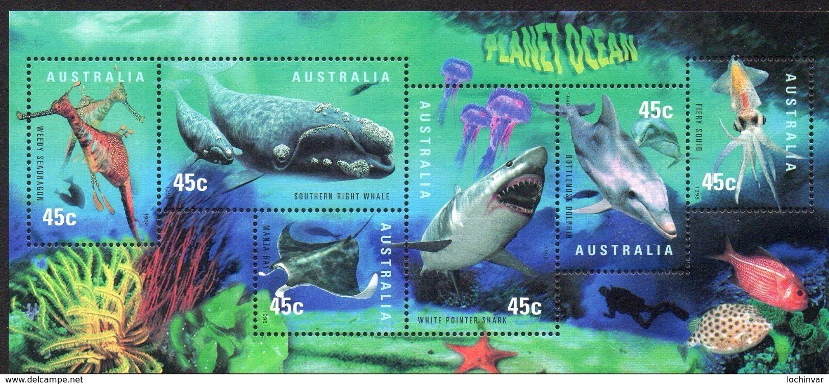 AUSTRALIA, 1998 PLANET OCEAN MINISHEET MNH - 1990-99 Elizabeth II