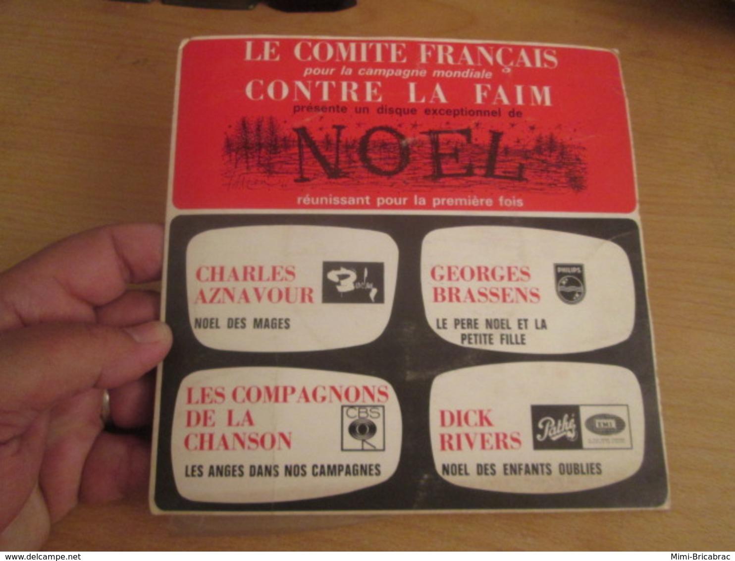 """ISQUE 45T COMITE FRANCAIS CONTRE LA FAIM Des Haricots """" AZNAVOUR / BRASSENS / RIVERS / COMPAGNONS DE LA CHANSON - Hit-Compilations"""