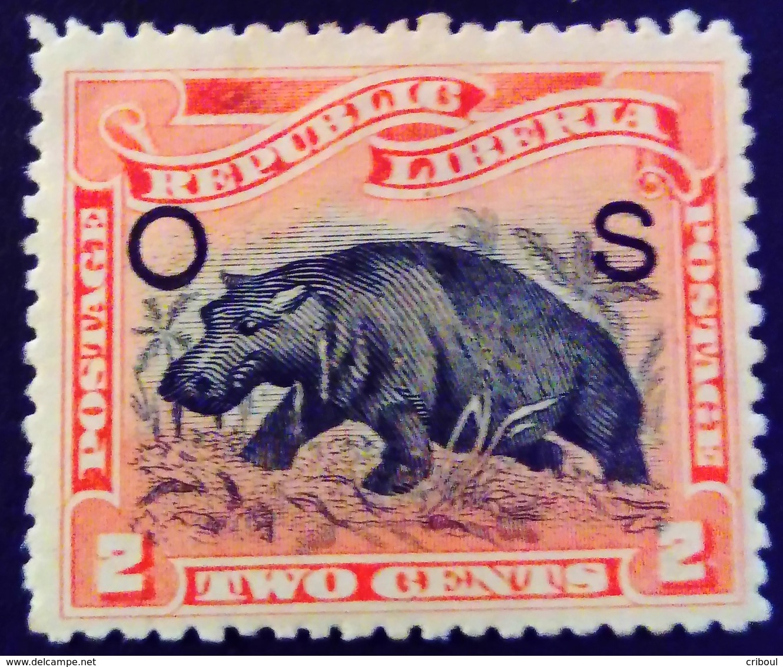 Liberia 1900 Animal Hippopotame Hippopotamus Surchargé Overprinted O S Yvert S37 * MH - Liberia