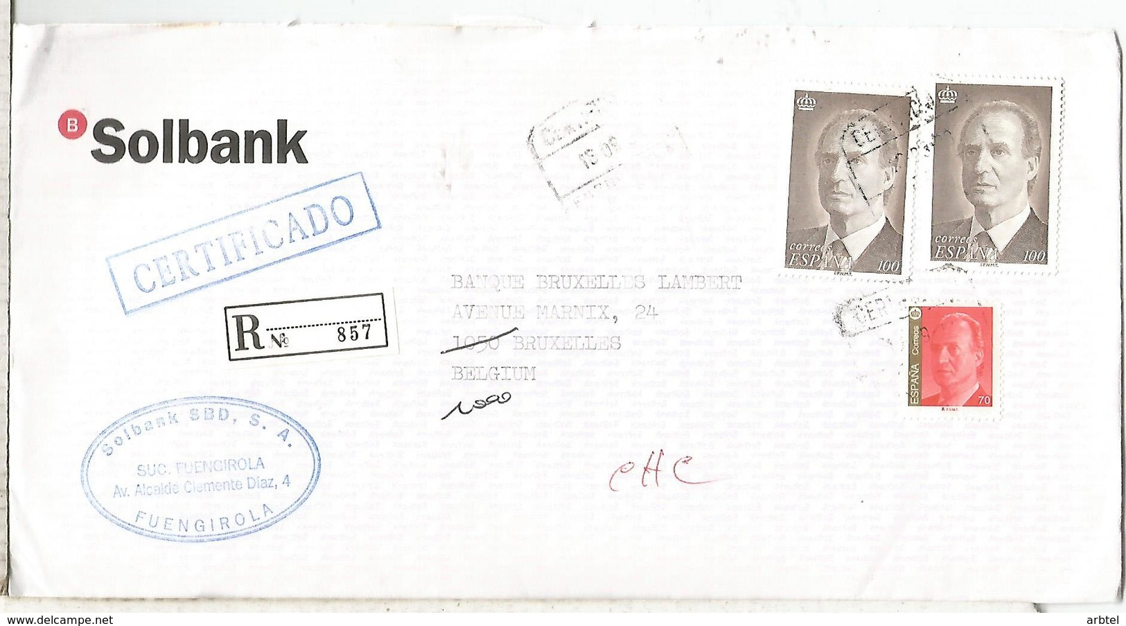 FUENGIROLA MALAGA  C C CERTIFICADA SELLO BASICA - 1931-Hoy: 2ª República - ... Juan Carlos I