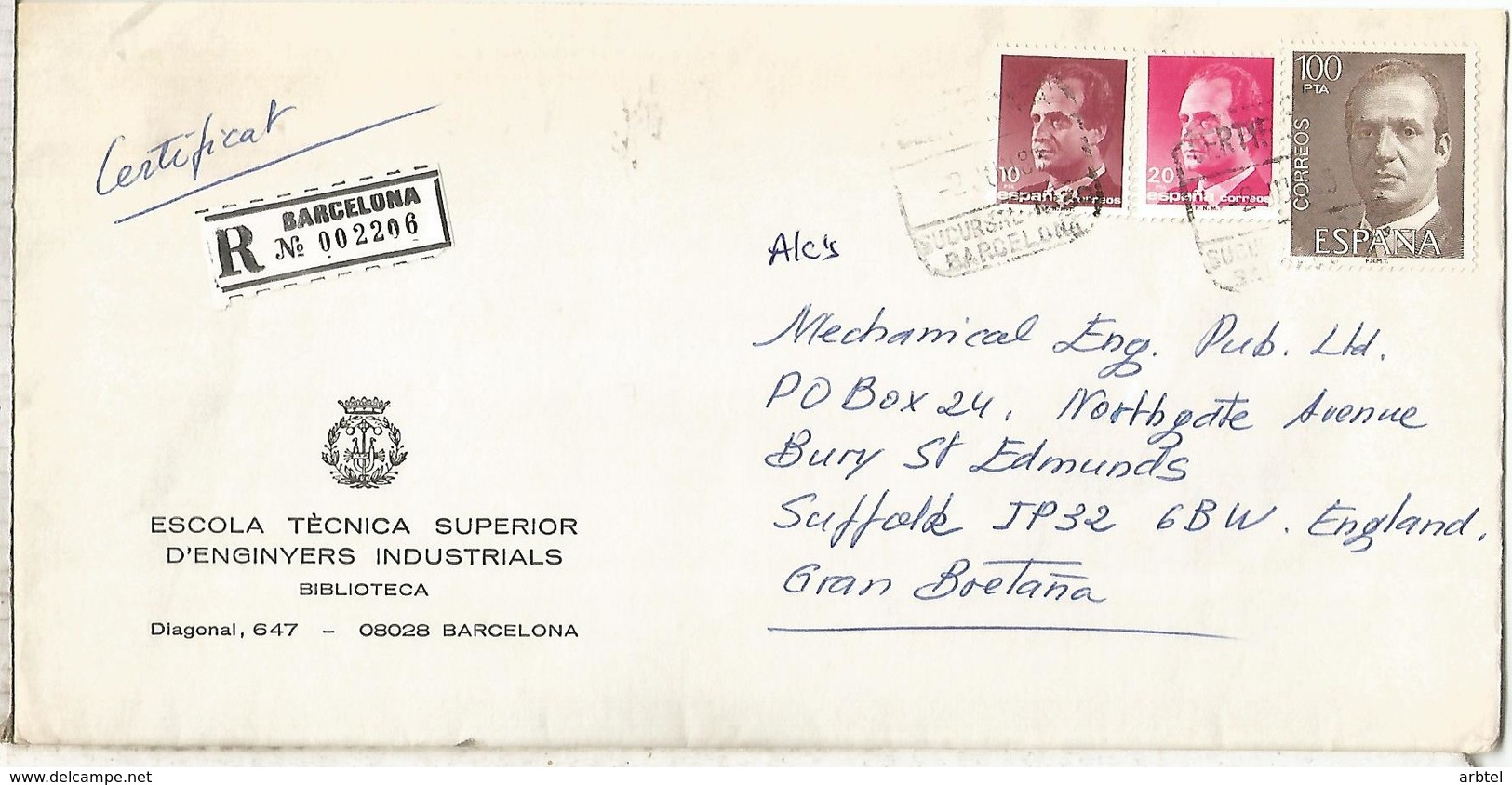 BARCELONA C C CERTIFICADA SELLOS BASICA - 1931-Hoy: 2ª República - ... Juan Carlos I