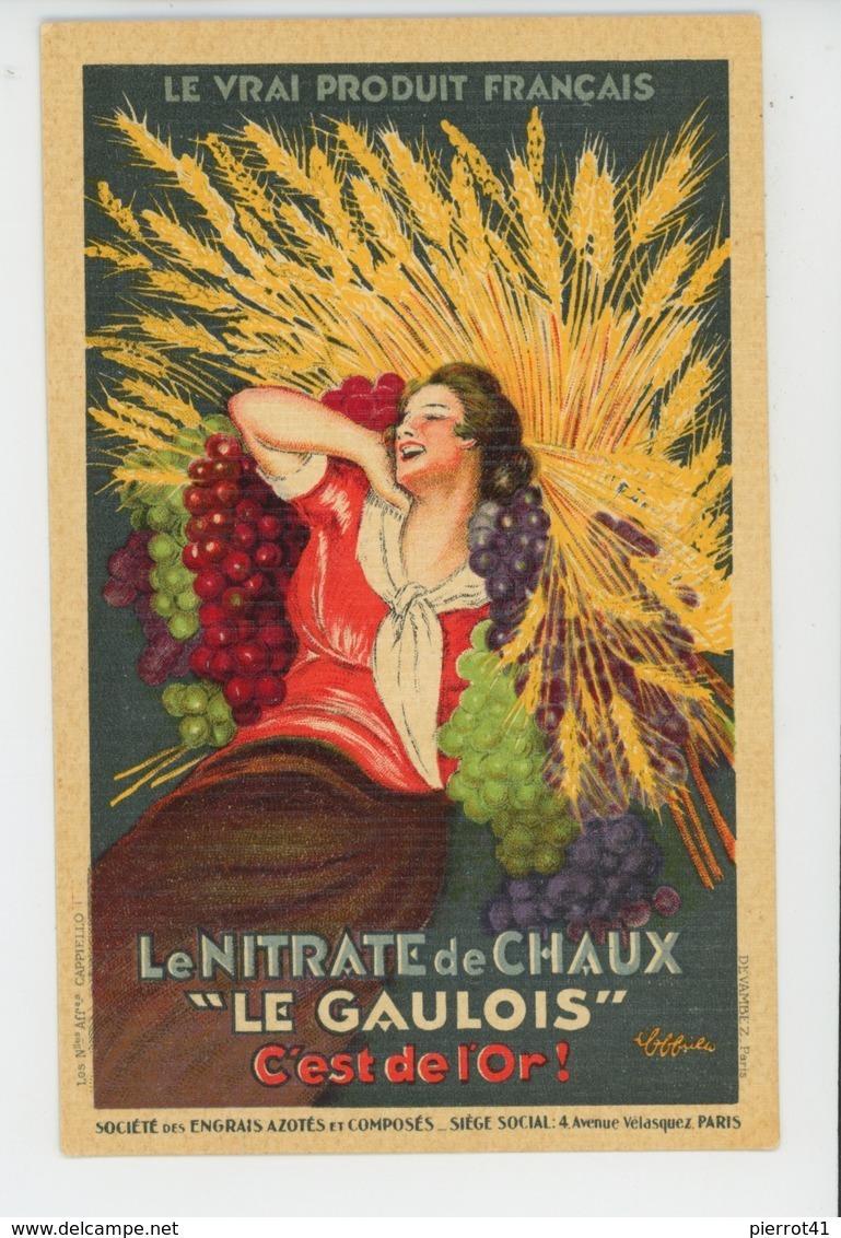 """PUBLICITÉ - AGRICULTURE - Carte Pub Pour LE NITRATE DE CHAUX """"LE GAULOIS """" , Sté Des ENGRAIS AZOTÉS ET COMPOSÉS - PARIS - Advertising"""