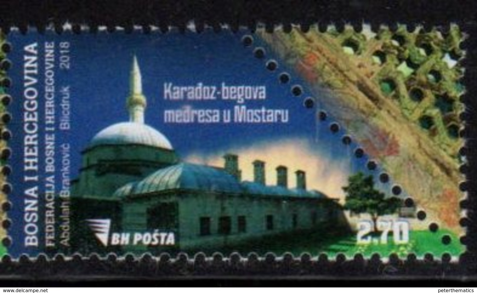 BOSNIA, MUSLIM, 2018, MNH, ARCHITECTURE, MOSQUES,1v - Mosques & Synagogues