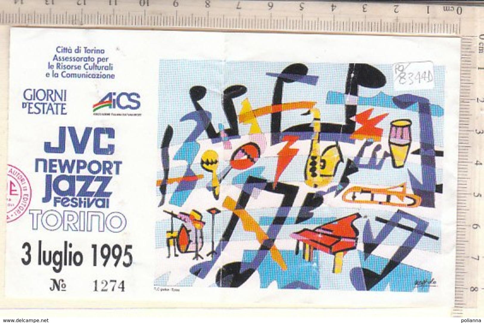 PO8344D# BIGLIETTO CONCERTO JVC NEWPORT JAZZ FESTIVAL TORINO 1995 - ILLUSTRATORE NESPOLO - Biglietti Per Concerti