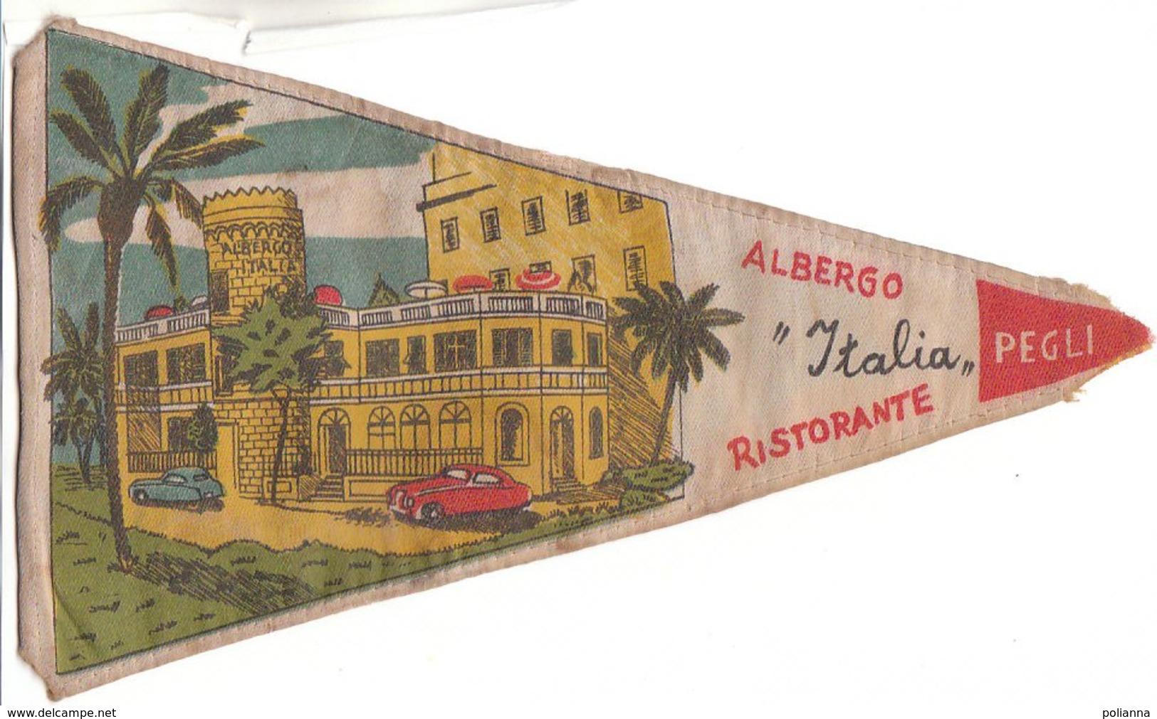 PO8927D# BANDIERINA SOUVENIR IN TELA Anni '50 - GENOVA PEGLI - ALBERGO ITALIA RISTORANTE - Pubblicitari