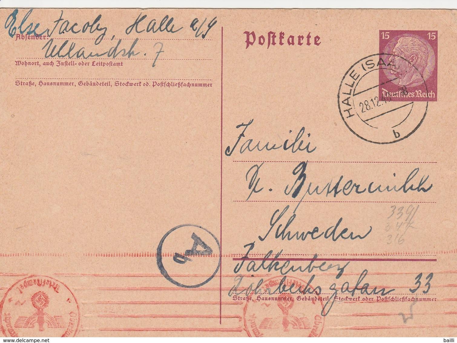 Allemagne Entier Postal Censuré Halle Pour La Suède 1940 - Germany