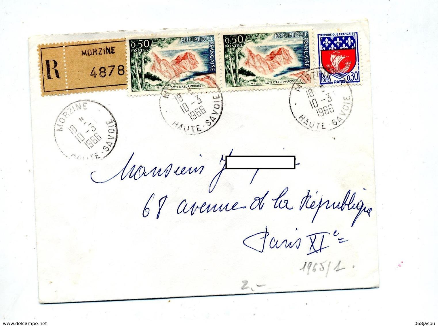 Lettre Recommandée Morzine Sur Cote D'azur - Marcophilie (Lettres)