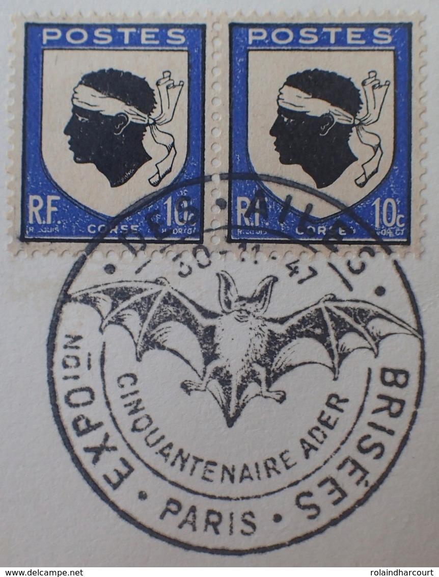 """R1591/206 - 1947 - N°755 (PAIRE) N°758 (BANDE De 3) Sur Carton - CàD """" EXPOSITION DES AILES BRISEES PARIS 50e Ann. ADER - France"""