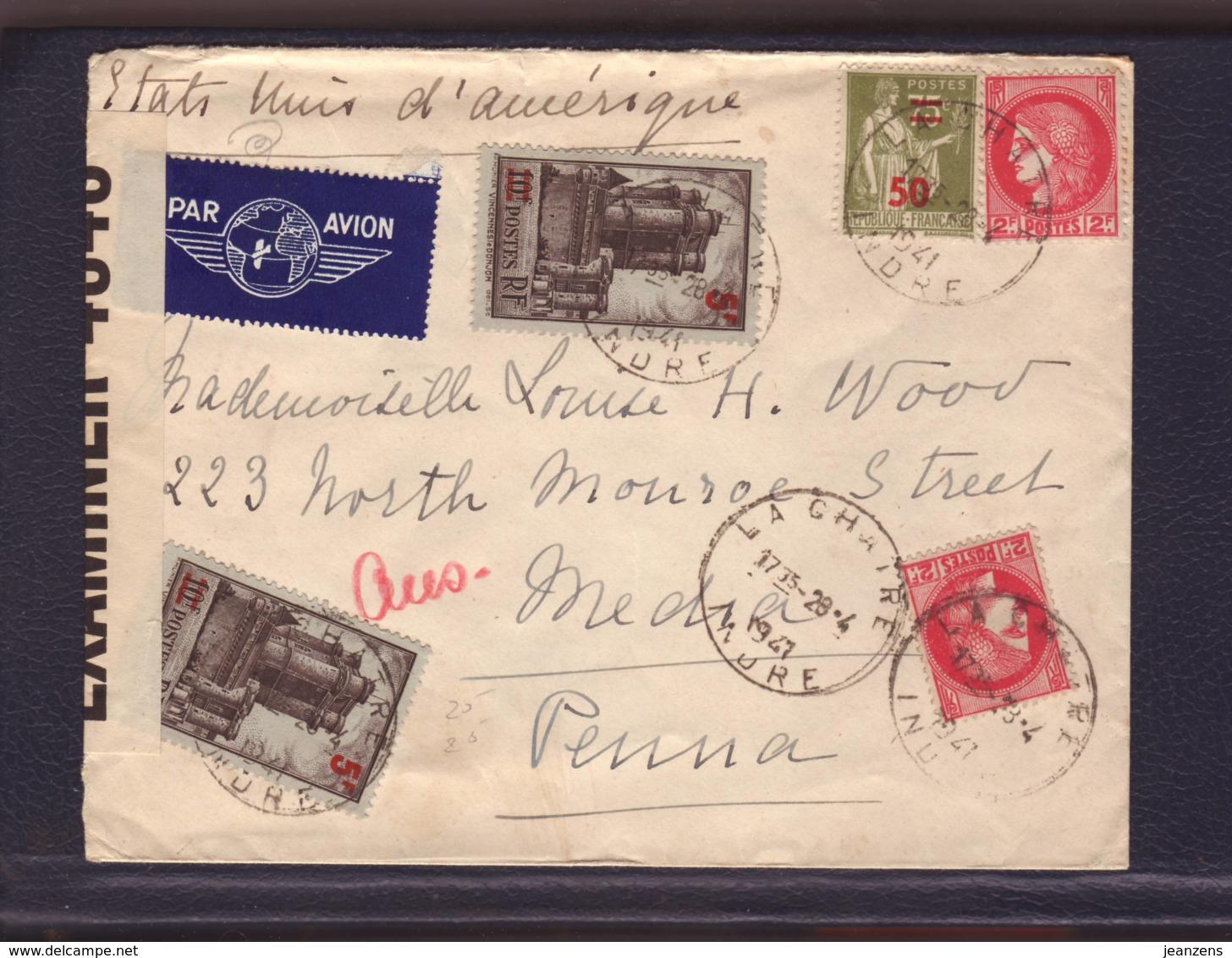 Lettre Par Avion De La Chatre 29.04.1941-> Media USA -Zensur/Censored/Censure Britannique OBE 4348 - Marcophilie (Lettres)