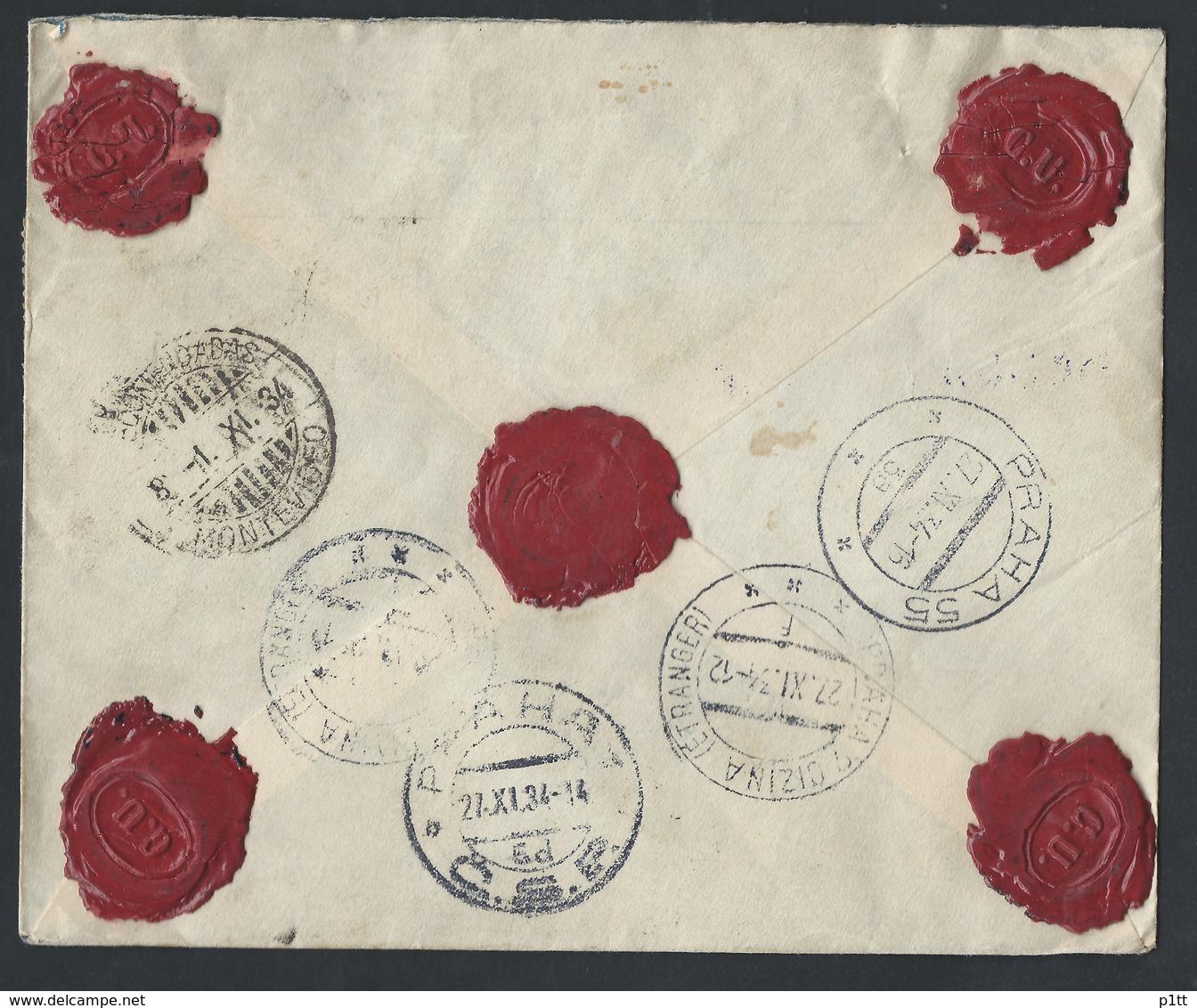 1URUInternational Registered Valuable Closed Letter. Post Office 1934 Montevideo (Uruguay) Prague (Czechoslovakia). - Czechoslovakia