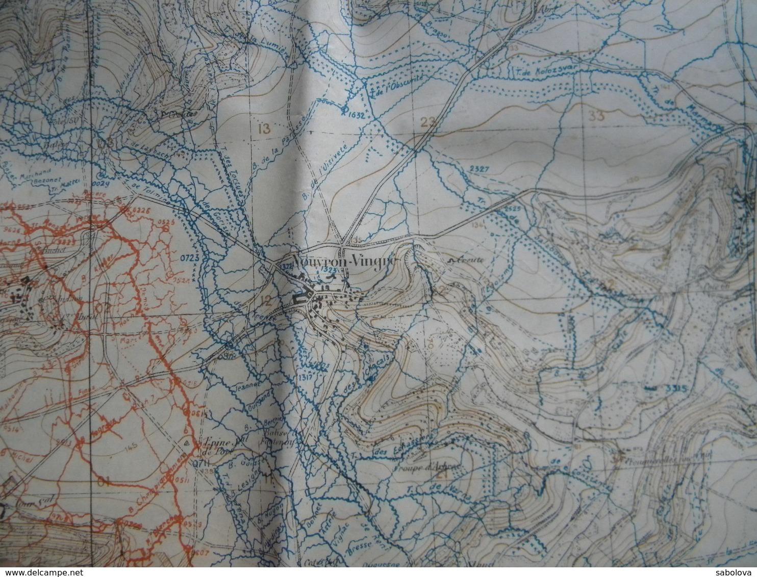 1914/1918 Carte 1/20000 état Major 2,06/0,75 Mètre. Chauny Près Laon. Juillet 2018. Vue Sur Tranchées Nommées Et Chemins - Mappe