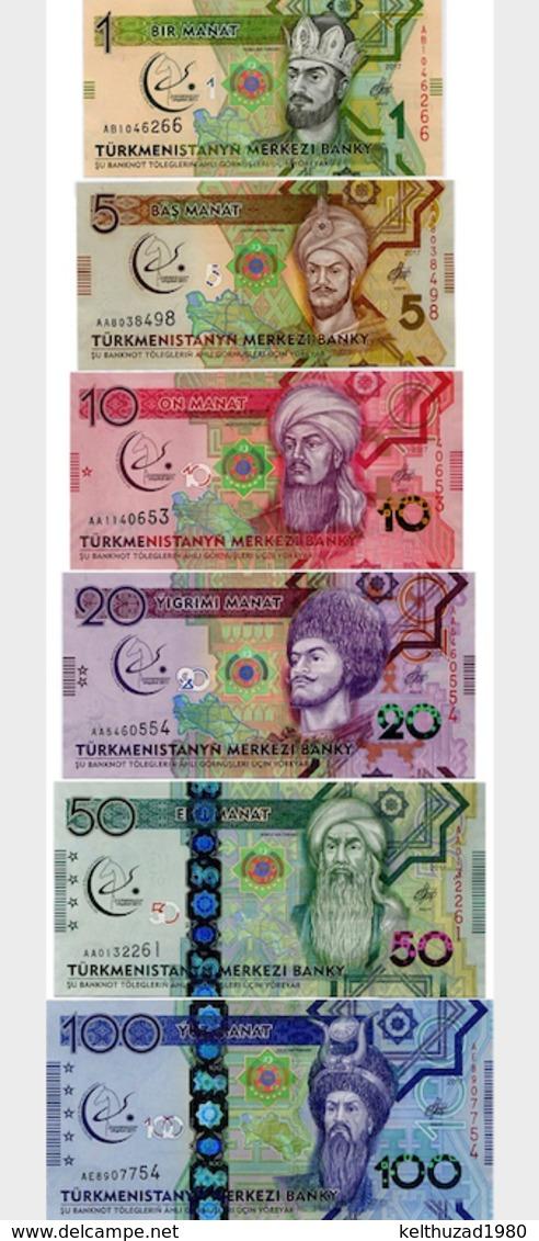 TURKMENISTAN. MEMORABLE SET OF BANKNOTES. 1, 5, 10, 20, 50, 100 MANAT. 2017. UNC. GAMES IN ASHGABAT - Turkmenistan
