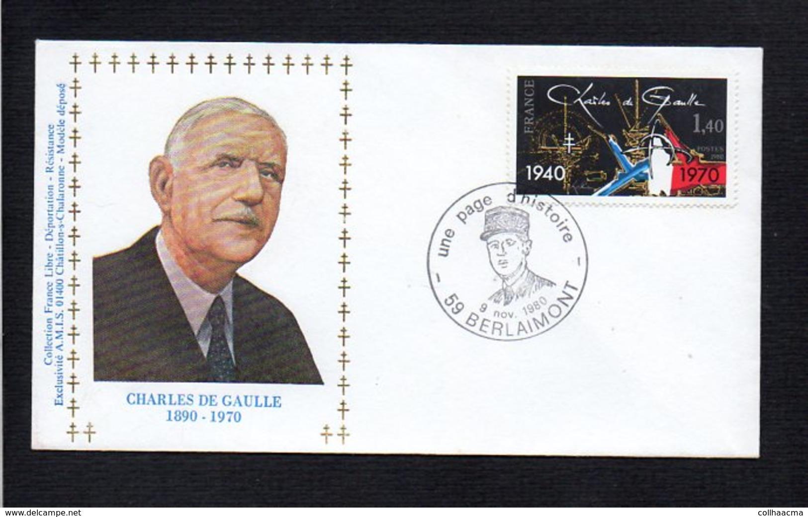 """France / Cachet Temporaire Berlaimont 59,Exposition """" Une Page D'Histoire """" Charles De Gaulle Novembre 1980 - De Gaulle (Général)"""