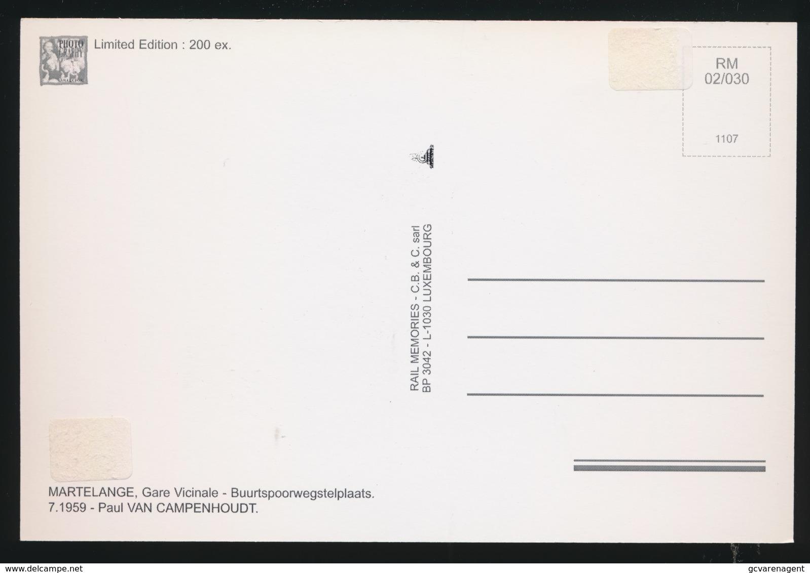 MARTELANGE - GARE VICINALE - BUURTSPOORWEGSTELPLAATS - LIMITED EDITION 200 EX  1959  - 2 SCANS - Strassenbahnen