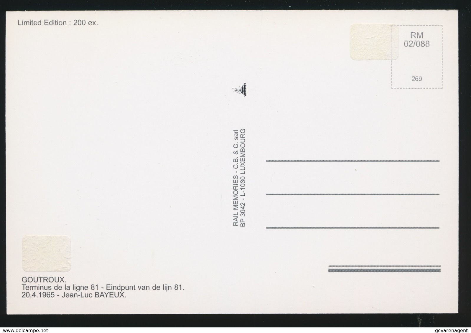 GOUTOUX TERMINUS DE LA LIGNE 81   - LIMITED EDITION 200 EX  1965  - 2 SCANS - Tramways