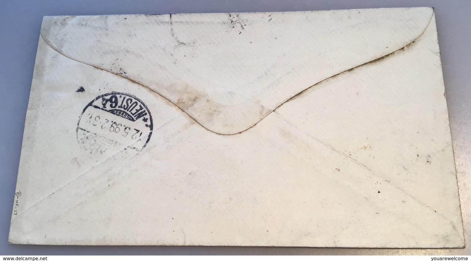 Suriname PARAMARIBO 1899  Rare Postage Due Cover >Dresden Via PLYMOUTH (Surinam Lettre - Suriname ... - 1975