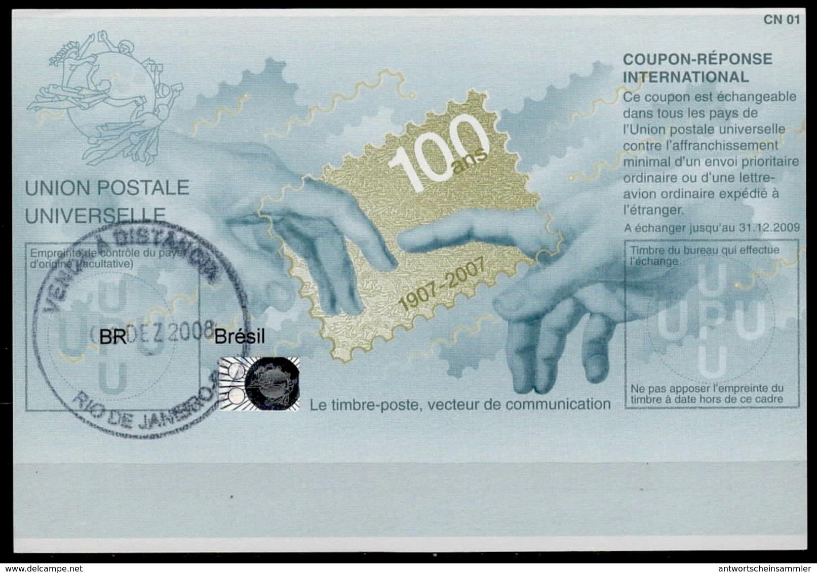 BRESIL BRAZIL Pe33 100 YEARS 20070322 GA Int. Reply Coupon Reponse Antwortschein IAS IRC Hologram O RIO DE JANEIRO - Postal Stationery