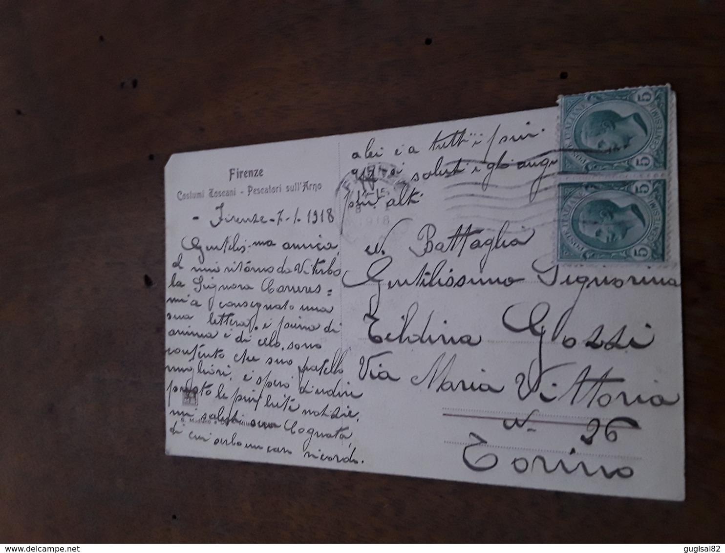 Cartolina Postale 1918, Firenze, Pescatori Sull'Arno - Firenze (Florence)