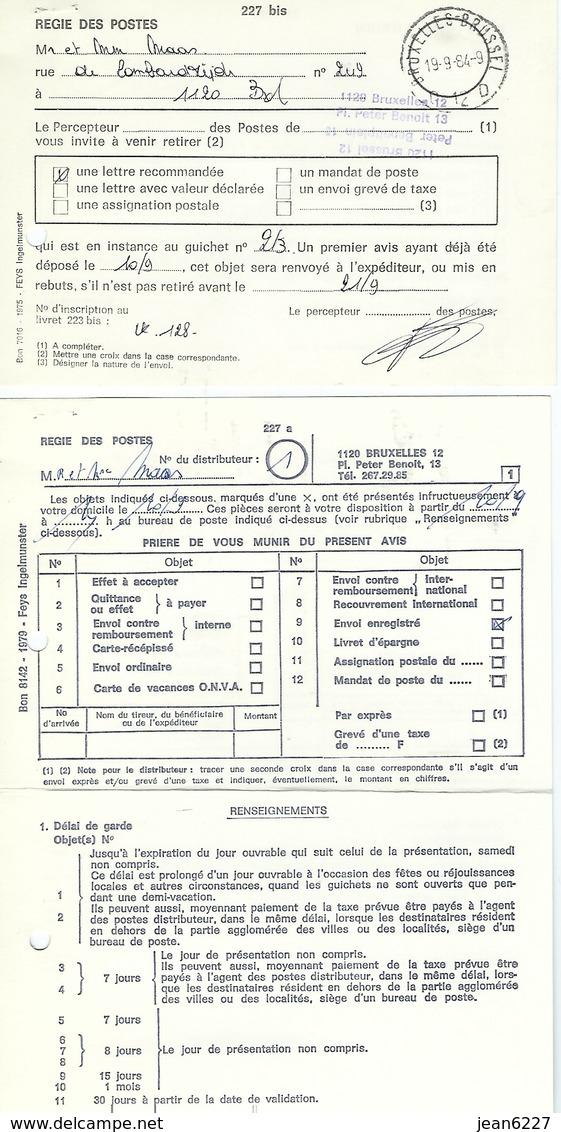 Formulaire 227 A Et 227 Bis - Documents Of Postal Services