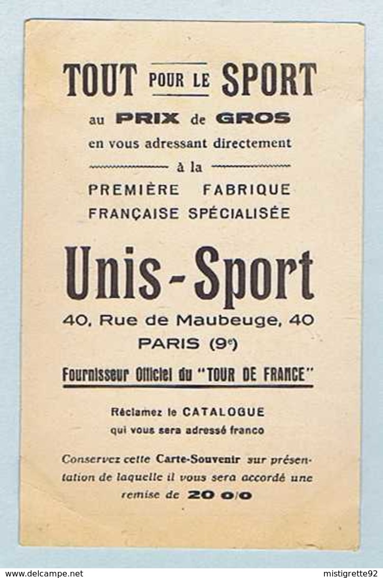 CP CYCLO-SPORT : Léon LE CALVEZ, équipé Par UNIS-SPORT. Cyclisme, Vélo. - Ciclismo