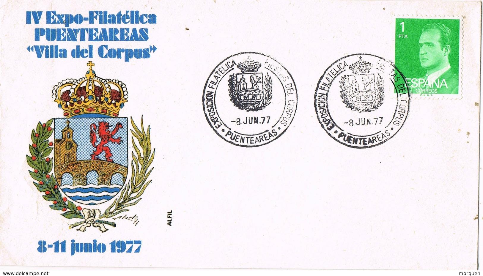 33540. Carta Exposicion PUENTEAREAS (Pontevedra) 1977. Villa Del Corpus - 1931-Hoy: 2ª República - ... Juan Carlos I