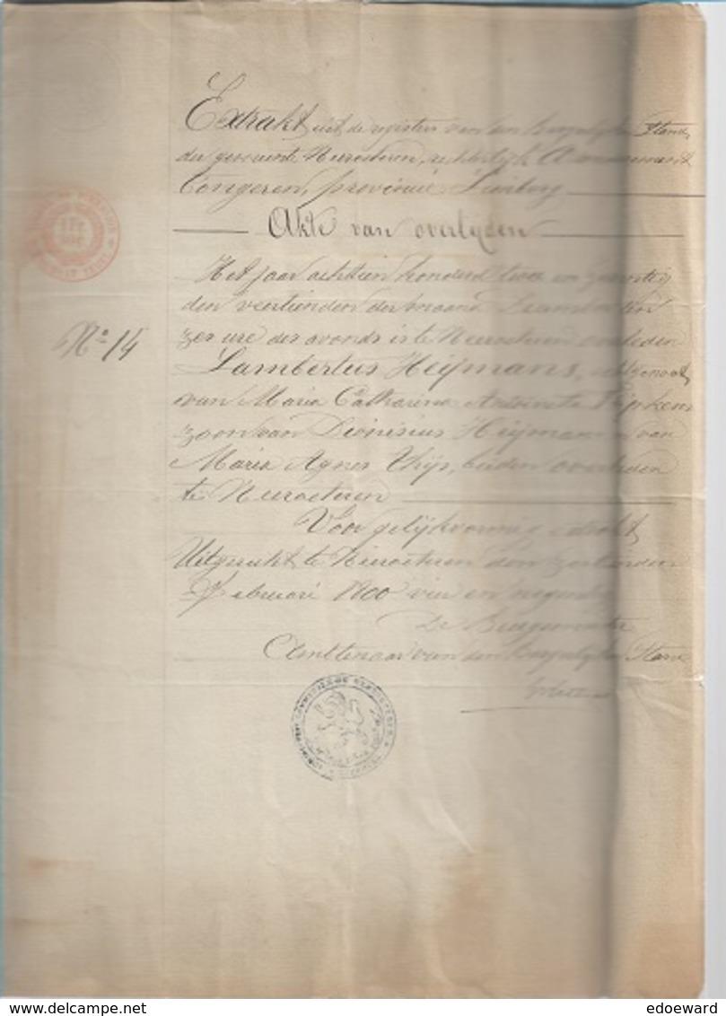 WO/   NEEROETEREN  AKTE VAN OVERLIJDEN VAN LAMB.HEIJMANS  1872 - Documents Historiques