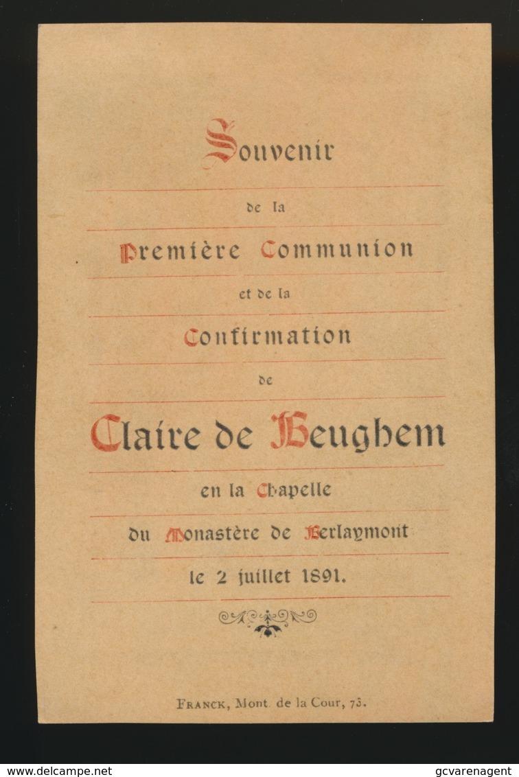 ADEL NOBLESSE  SOUVENIR D/L PREMIERE COMMUNION -   CLAIRE DE BEUGHEM - BERLAYMONT 1891  2 SCANS - Communion