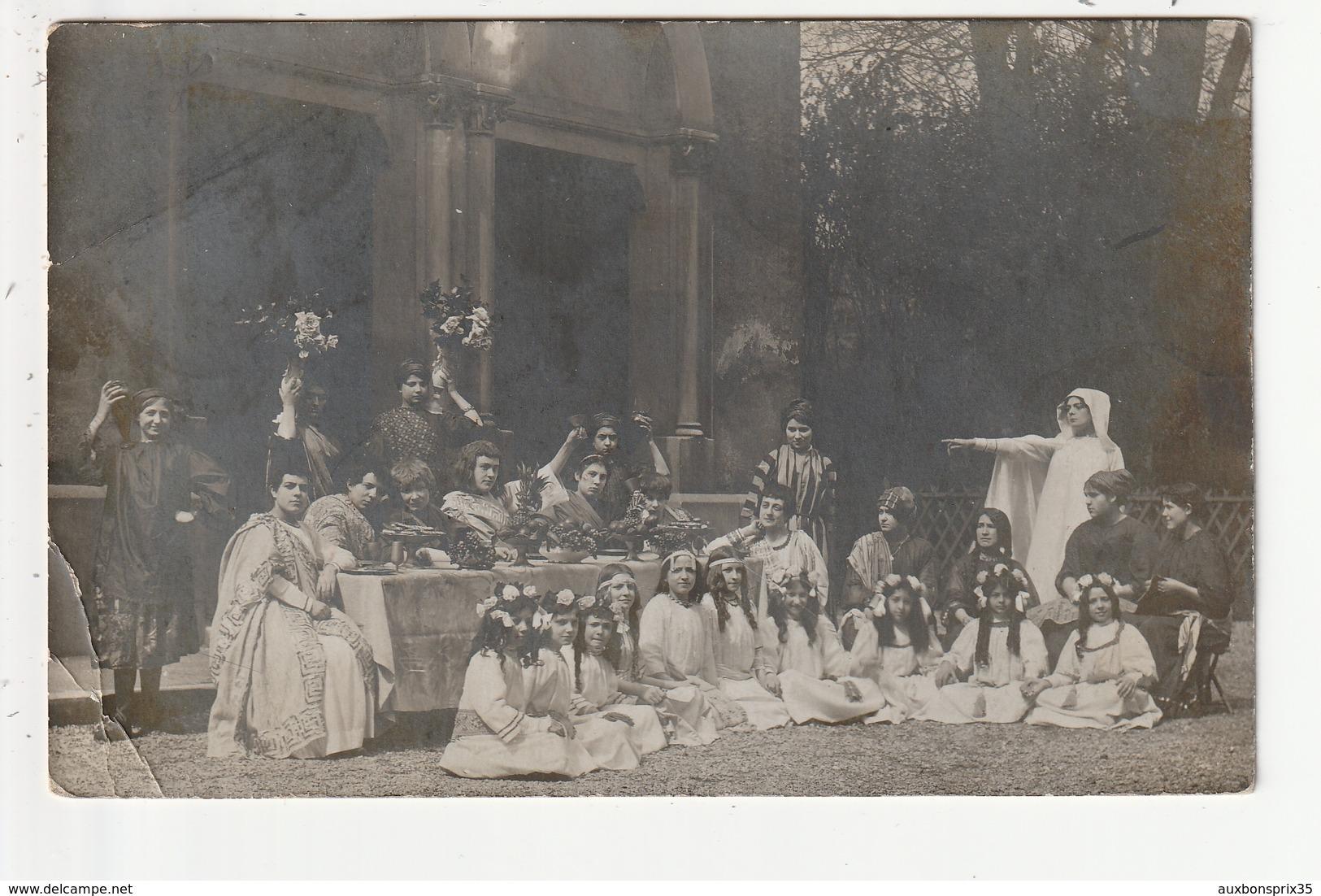 CARTE PHOTO - PARIS - THEATRE - SOUVENIR DU PATRONNAGE DES SOEURS - RUE DE LA MARE - 1913 - 75 - France