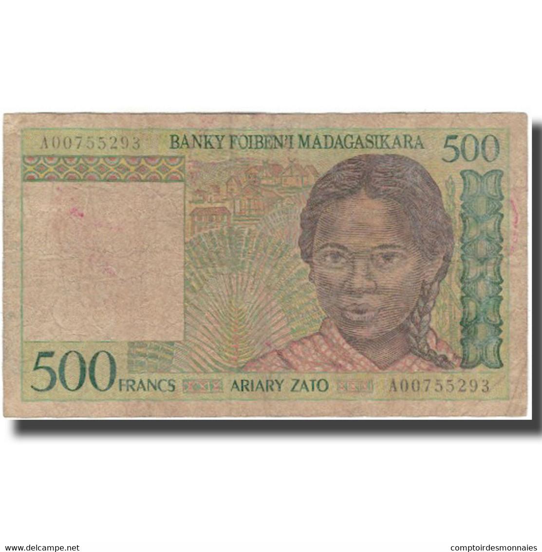Billet, Madagascar, 500 Francs = 100 Ariary, KM:75a, B+ - Madagascar