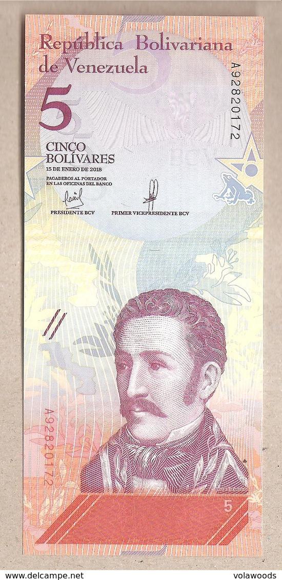 Venezuela - Banconota Non Circolata FdS Da 5 Bolivares P-102a - 2018 - Venezuela