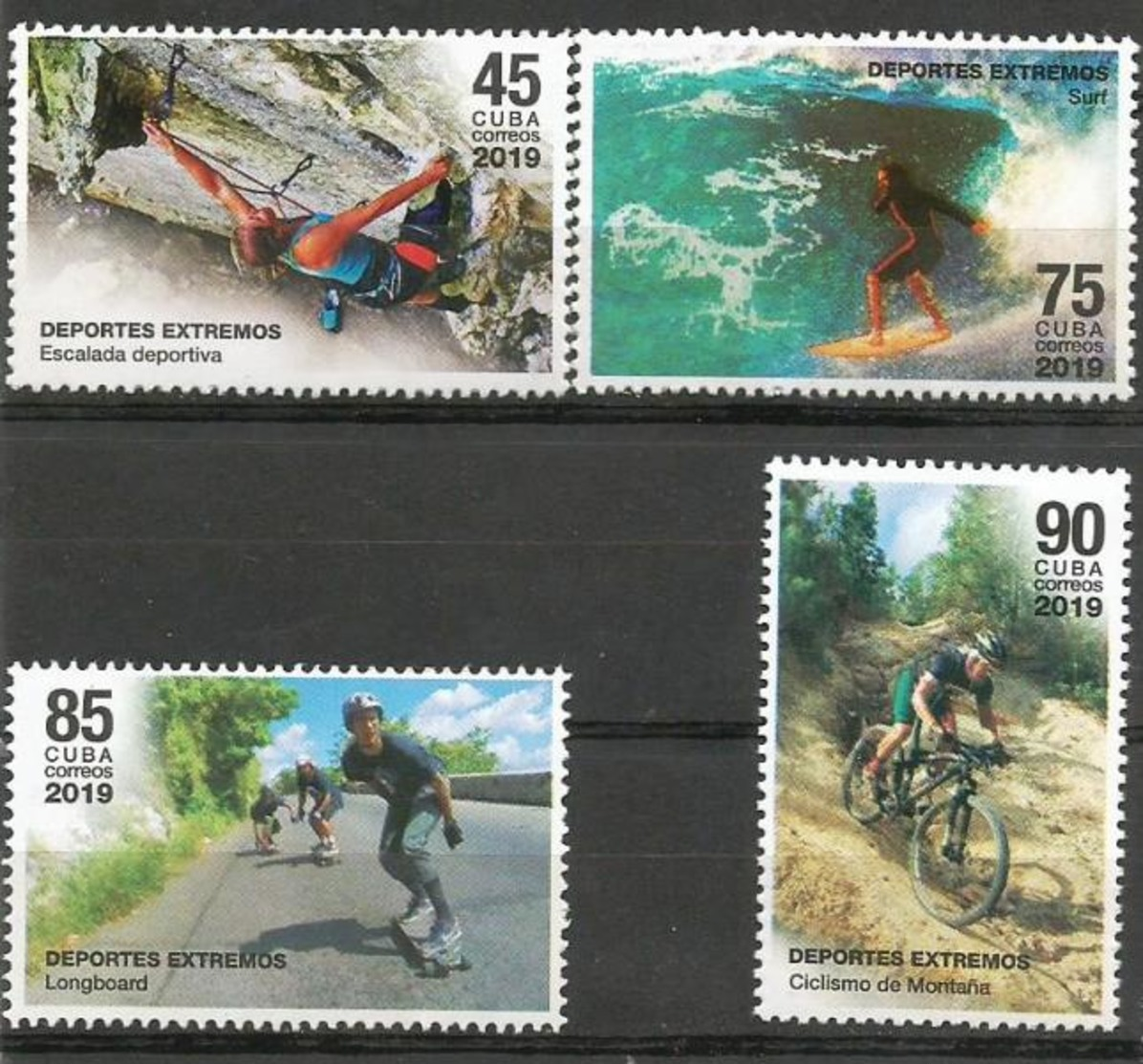 Cuba 2019 Extreme Sports (Mountain Escalade, Surf, Longboard And Montain Cycling) 4v MNH - Handisport