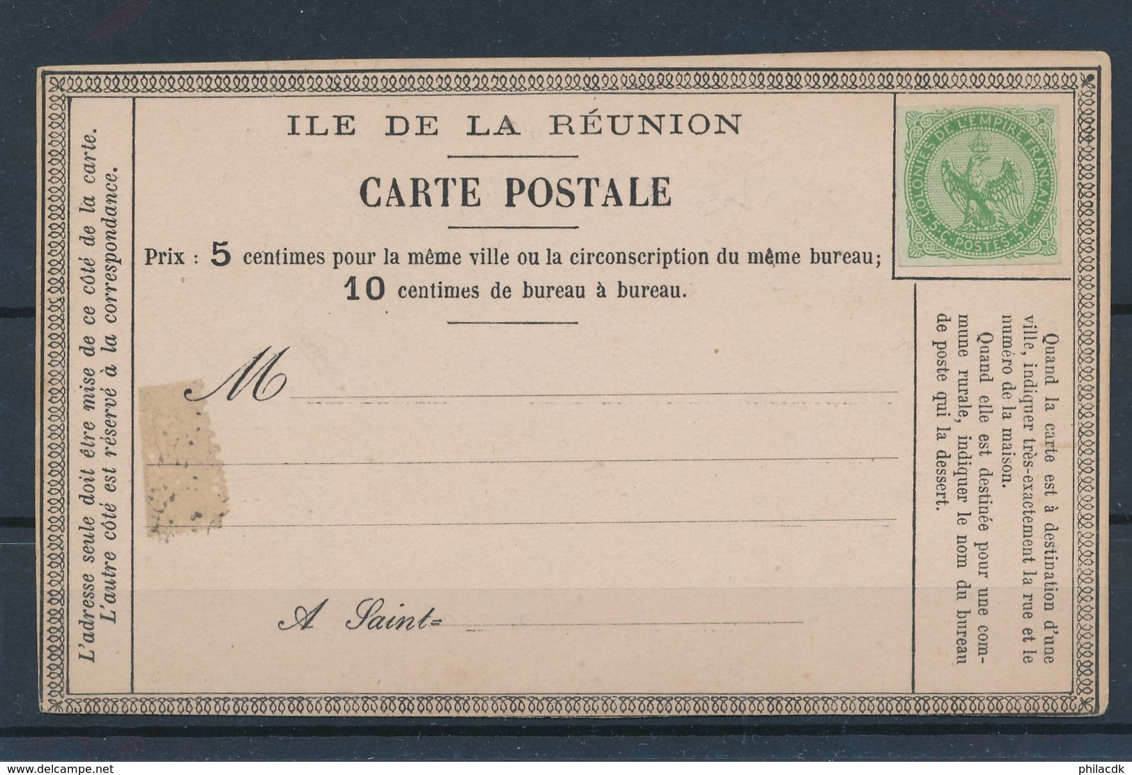 COLONIES GENERALES - N°YT 2 NEUF SUR CARTE POSTALE ILE DE LA REUNION - 1859/65 - Eagle And Crown