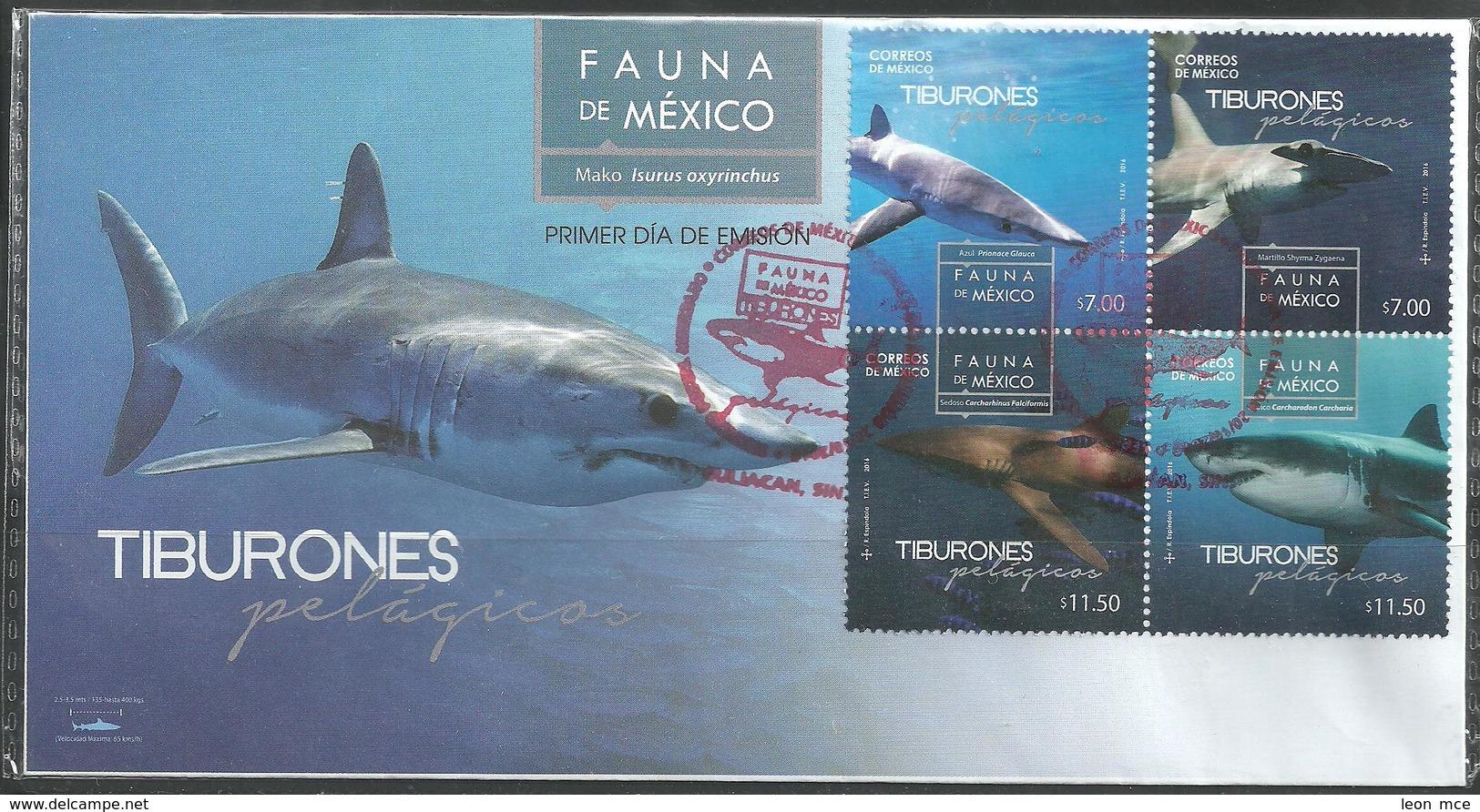 2016 FDC  Fauna De México, Tiburones Pelágicos SOBRE PRIMER DÍA DE EMISIÓN, FDC SHARKS IN MEXICO, MARINE LIFE - Messico