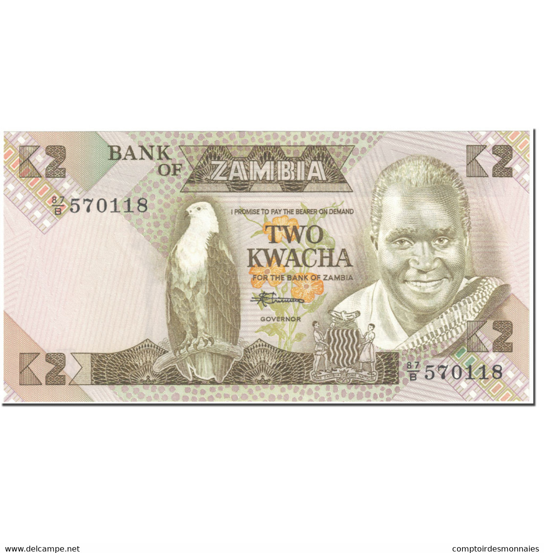 Billet, Zambie, 2 Kwacha, 1980-88, Undated (1980-88), KM:24c, NEUF - Zambie