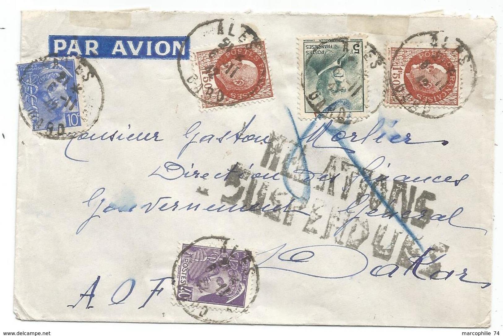 PETAIN 5FR+1FR50X2+ MERCURE 10C+40C LETTRE AVION ALES GARD 6.11.1942 POUR DAKAR RELATIONS SUSPENDUES - Marcophilie (Lettres)