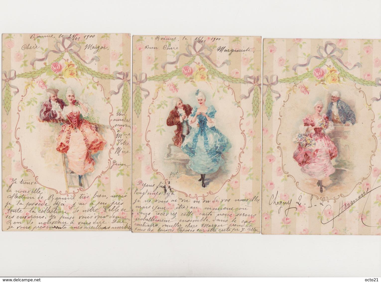 3 Cartes Fantaisie Dessinées / Couples.; Costumes XVIIIè - Couples
