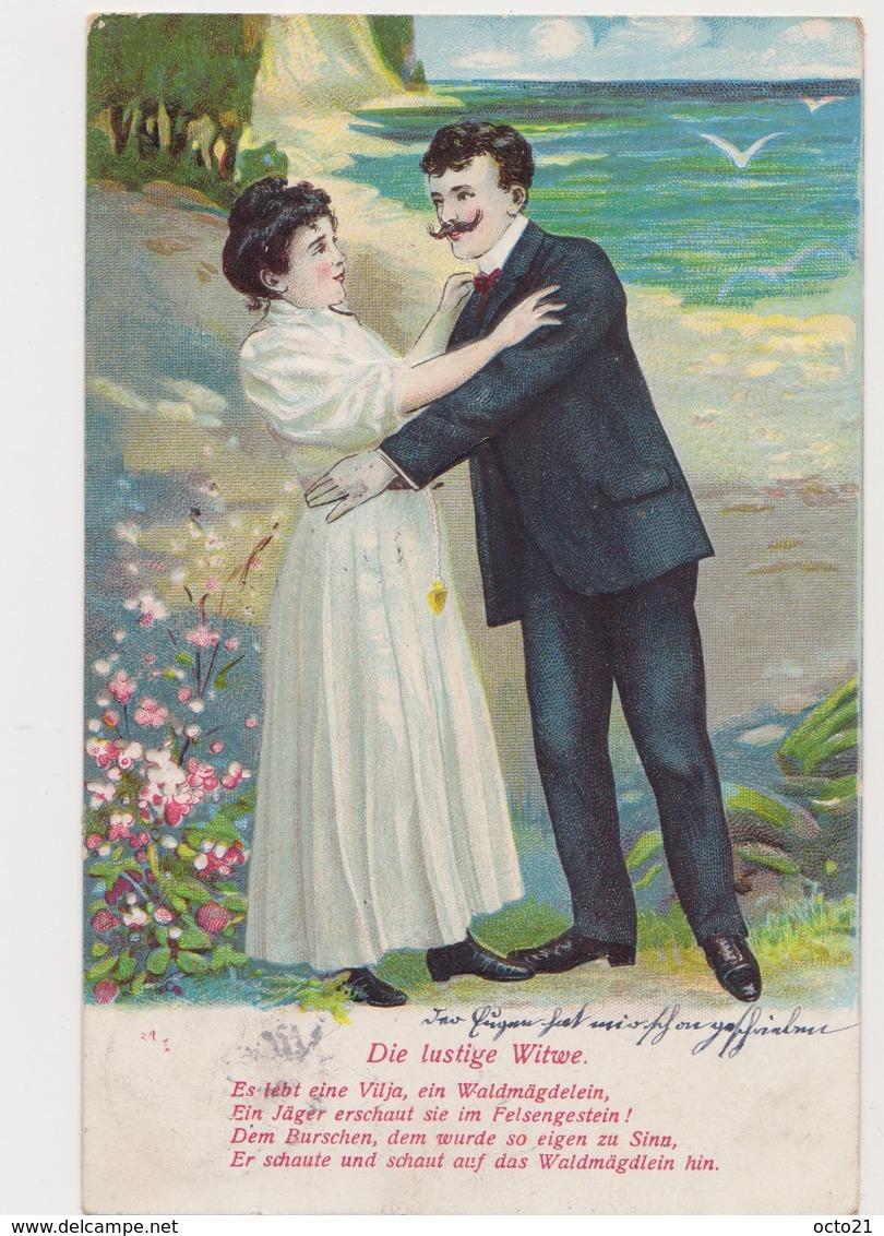 Carte Fantaisie Gaufrée / Couple / Die Lustige Witwe - Couples